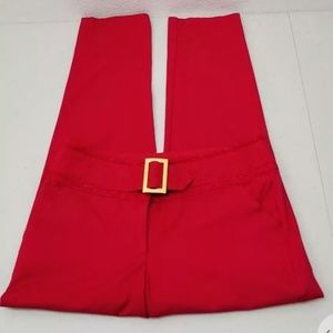 Xoxo Straight Leg Red Pants Attached Belt w Lace